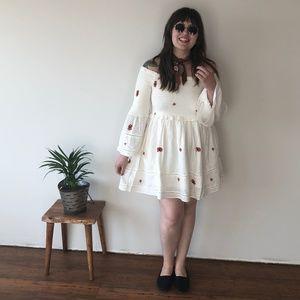 NWT Free People Smocked Ivory Dress - Size Large